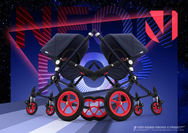 Рекламный баннер коляски Bugaboo Cameleon Neon Pop с сайта bugaboo.com