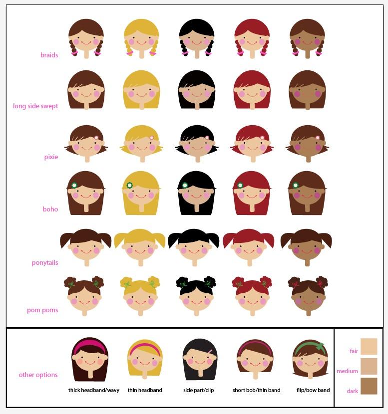 Выберите прическу и цвет кожи вашей будущей куклы